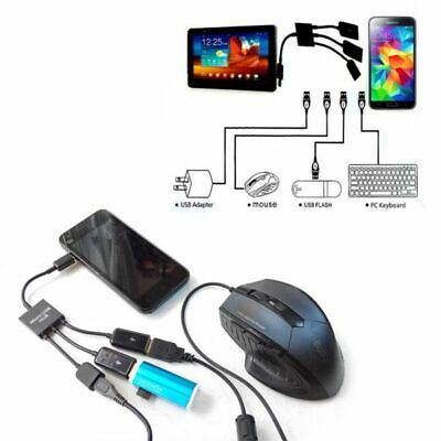 Cellular Phone Power Adapter Cable (Micro USB Host OTG 3 Port Hub Cell Phone Adapter Cable with Power For Android  )