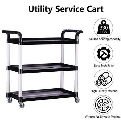 Oshion Heavy-duty 3-shelf Rolling Serviceutilitypush Cart. 330 Lbs Capacity