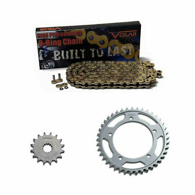 Volar O-Ring Chain and Sprocket Kit - Gold for 2005-2020 Yamaha TTR230 O-ring Chain Sprocket