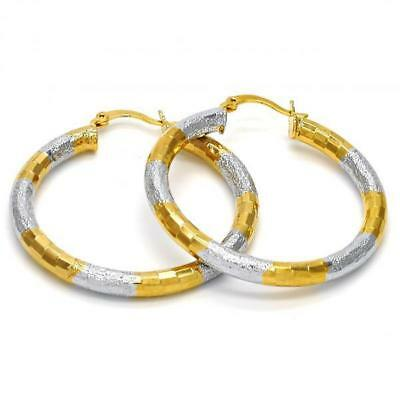 Women's Two Tone Medium Hollow Round Hoop Earrings 14k Gold Layered (40mm x 4mm) 4mm Medium Hoop Earrings