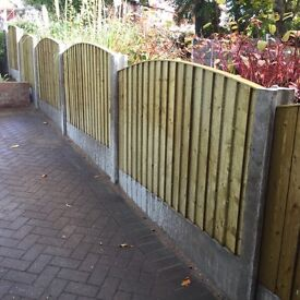 🔨🌟New Heavy Duty Pressure Treated Feather Edged Arch Top Timber Fence Panels