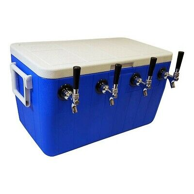 Jockey Box Cooler - 4 Faucet 75 Stainless Coils 48qt - All Stainless Fittings