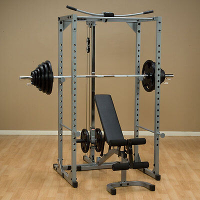 Powerline Rack Package - Rack, lat attachment, bench, 300 lb. set