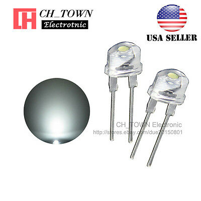 50pcs 8MM Water Clear White Light Straw Hat 0.5W LED Diodes Wide Angle USA - Led Hats Wholesale
