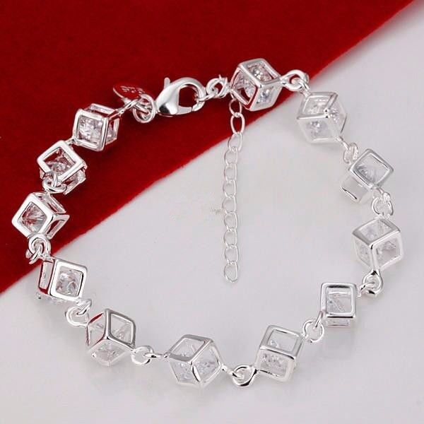 Bracelet, necklace & earring set Cube Crystal 925 Silver brand new in gift box FREE POSTAGE