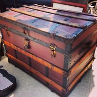 Early 1900's Flat Top Steamer Trunk