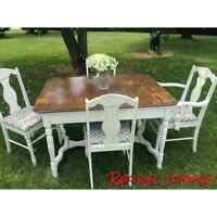 Shabby Chic Dining Table with 6 chairs uniquely refreshed
