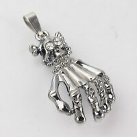 New Men 316L Stainless Steel Crystal Skull & Hand Pendant