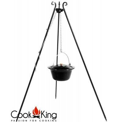Dreibein Schwenkgrill mit Gulaschkessel emailliert 10 Liter Topf mit Deckel