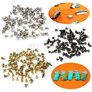 100PCS-3Colors-Punk-Cone-Shaped-Tiny-3D-Metallic-Nail-Art-Decoration-Studs-DIY