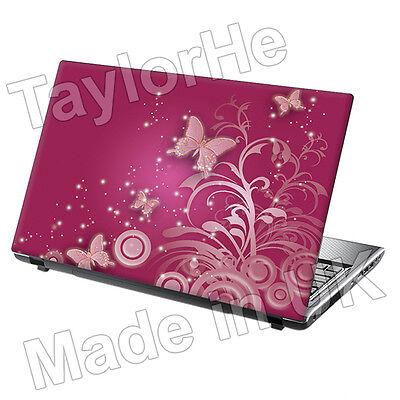 """15.6"""" Laptop Skin Cover Sticker pink butterflies 102"""