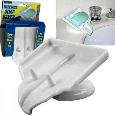Soap Dish, Soap Saver, Waterfall Drain, STOP Mushy Soap, Clean & Dry Soap Holder