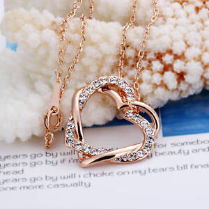 New-18K-Rose-Gold-Filled-Womens-Heart-Pendant-Necklace-With-Swarovski-Crystal