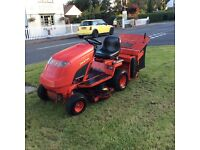 Countax petrol hydrostatic ride on mower with rear roller and sweeper