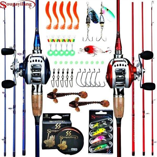 Fiber Casting Rod 11BB Baitcasting Reel Fishing Tackle Set. Red, Right Hand