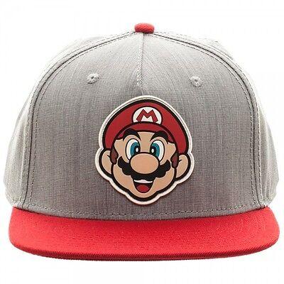 NINTENDO SUPER MARIO BROS BIG FACE SNAPBACK HAT CAP ADJUSTABLE GREY RED WORLD - Super Mario Bros Hats