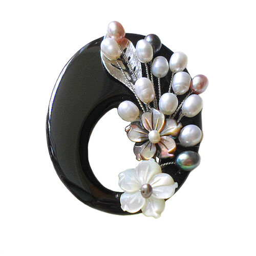 HANABE KOREA Handmade Onyx Stone Shell Cultured Pearl Brooch Pin Pendant Black