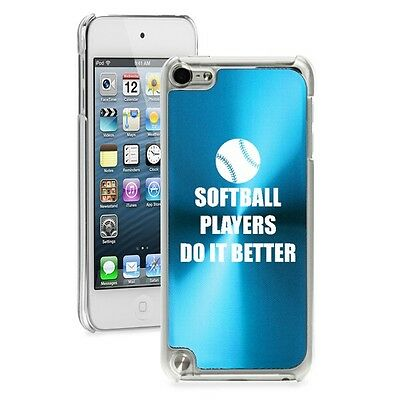 Light Blue Apple iPod Touch 5th 6th Gen Hard Case Softball Players Do it