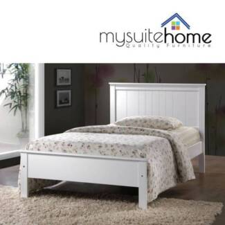 POINTCOOK Rojo White Single KING S Timber Bed Frame