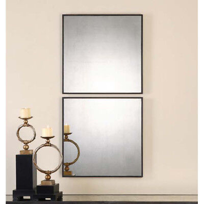 Modern Square Wall Mirrors Antiqued Glass S/2 Decorative Accents