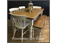 BEAUTIFUL NEW HANDMADE 5FT PINE FARMHOUSE TABLE CHAIRS AND BENCH IN ANY COLOUR