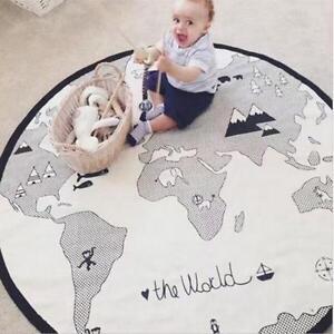 World Map Sleep Round Baby Kid Play Mat Floor Rug Crawl Soft Blanket Carpet UK