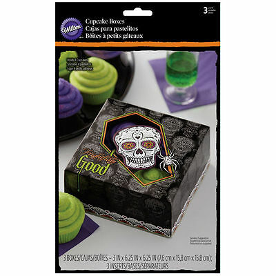 Day of the Dead Skull Halloween Cupcake Boxes 4 ct from Wilton 3179 NEW](Day Of The Dead Cupcakes)