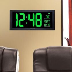 Big Digital Wall Clock Large LED Display Calendar Office Classroom w Temperature