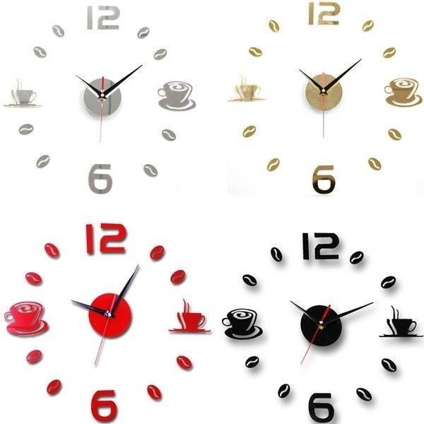 Details About Coffee Cups Kitchen Wall Art Mirror Clock Modern Design Home Decoration Decor