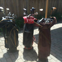 3 VINTAGE GOLF BAGS Leather - Irons included - Great Condition