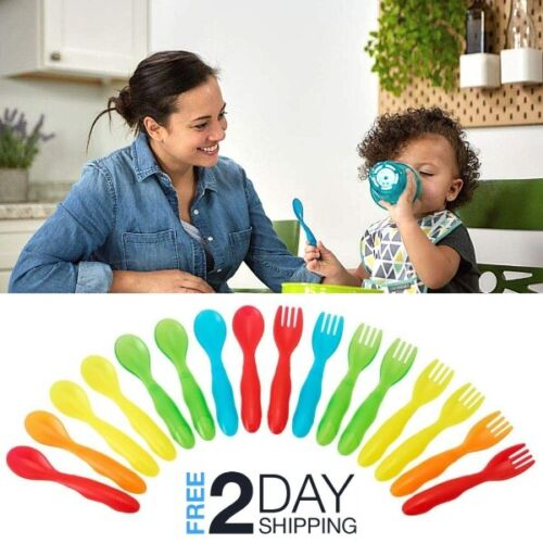 Kids Utensils 16Pcs Spoon/Fork Flatware Set Toddlers Self-Feeding 9+Months Baby