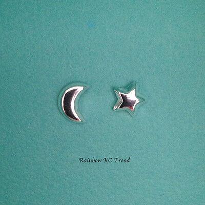 Jewellery - 925 Sterling Silver Moon Crescent/ Star Kids Girl Women Stud Earrings Jewellery