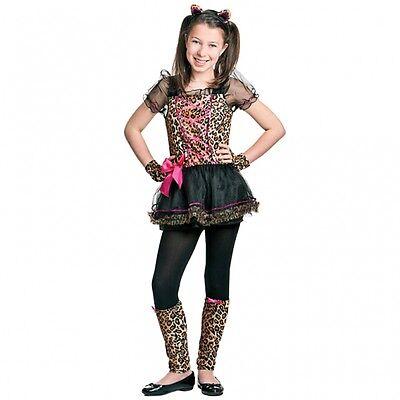Kostüm Leopard Gr. 134 Kinder Kleid + Haarreif + Stulpen Karneval Mädchen