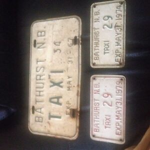 Old taxi plates from Bathurst