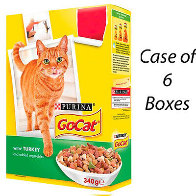 GO-CAT CAT FOOD BISCUITS WITH TURKEY & ADDED VEG 340g CASE OF 6 BOXES 202397