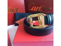 Gold square buckle design mens two tone leather belt cartier boxed with papers