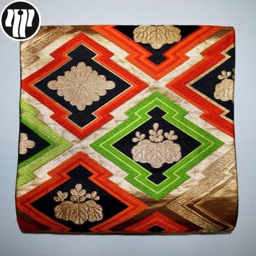 Obi Kimono Belt Vintage Japanese Fukuro Style Silk Obi Sash - Lozenge Grid