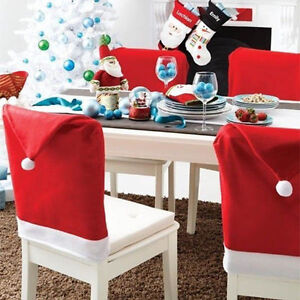 Hot Sale Santa Clause Red Hat Chair Back Covers For Christmas Dinner Decorati