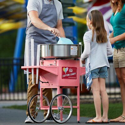 Mobile Cotton Candy Machine With 21 Stainless Steel Bowl And Cart - 110v 1050w