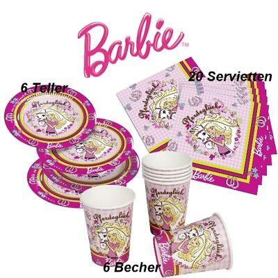 BARBIE - Party SPAR SET für Kindergeburtstag  Teller, Becher und Servietten