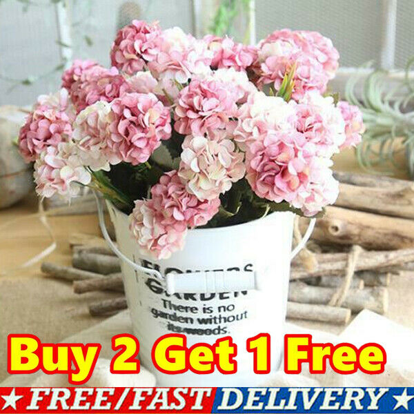Home Decoration - 10 Heads Artificial Silk Hydrangea Fake Flowers Bouquet Bunch Party Home Decor