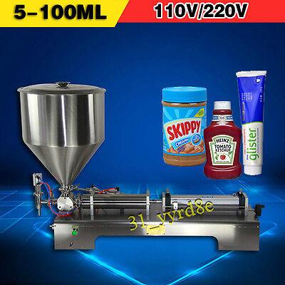 5-100ml Liquid Paste Sauce Cream Filling Machinesingle Piston Filler With Pedal