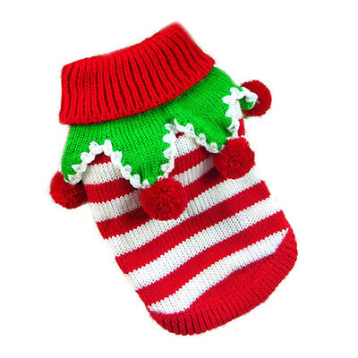 Details about pet christmas sweater stripe santa clothes puppy hoodie