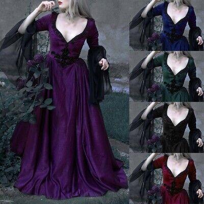 Frauen Gothic Bell Sleeve Abend Party Hochzeit Cosplay Kostüm Vintage Kleider