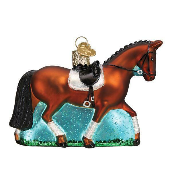 DRESSAGE HORSE OLD WORLD CHRISTMAS GLASS DANCING ON HORSEBACK ORNAMENT NWT 12555