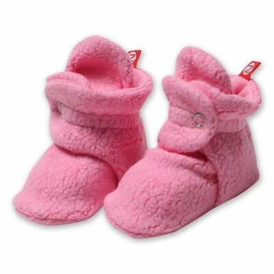 NWT Zutano Original Fleece Booties 12M Pink Stay-On Baby Shoes NEW