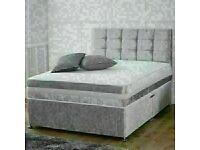 🔵💖🔴20% DISCOUNT FOR XMAS🔵💖🔴CRUSH VELVET DIVAN BED BASE SINGLE/DOUBLE/KING SIZE w MATTRESS OPT