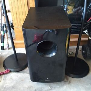 Subwoofer and two speakers with two stands