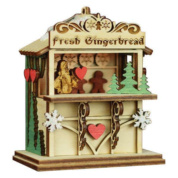 GINGER MARKET OLD WORLD CHRISTMAS WOOD GINGERBREAD COTTAGE ORNAMENT NIB 80026