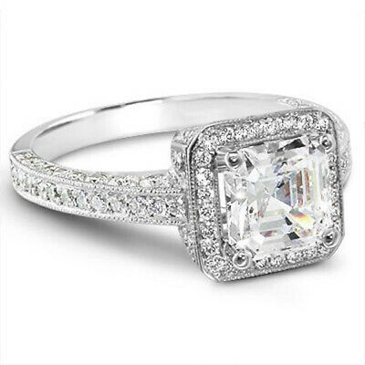 2.25 ct. Asscher Cut Halo Micro Pave Diamond Engagement Ring GIA I, VS1 18k WG 2
